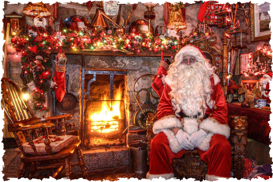 santa resting by fireplace