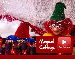 santas in magical cottage